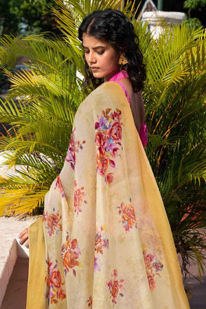 Cotton - Linen Saree Corn Yellow Cotton - Linen Saree saree online