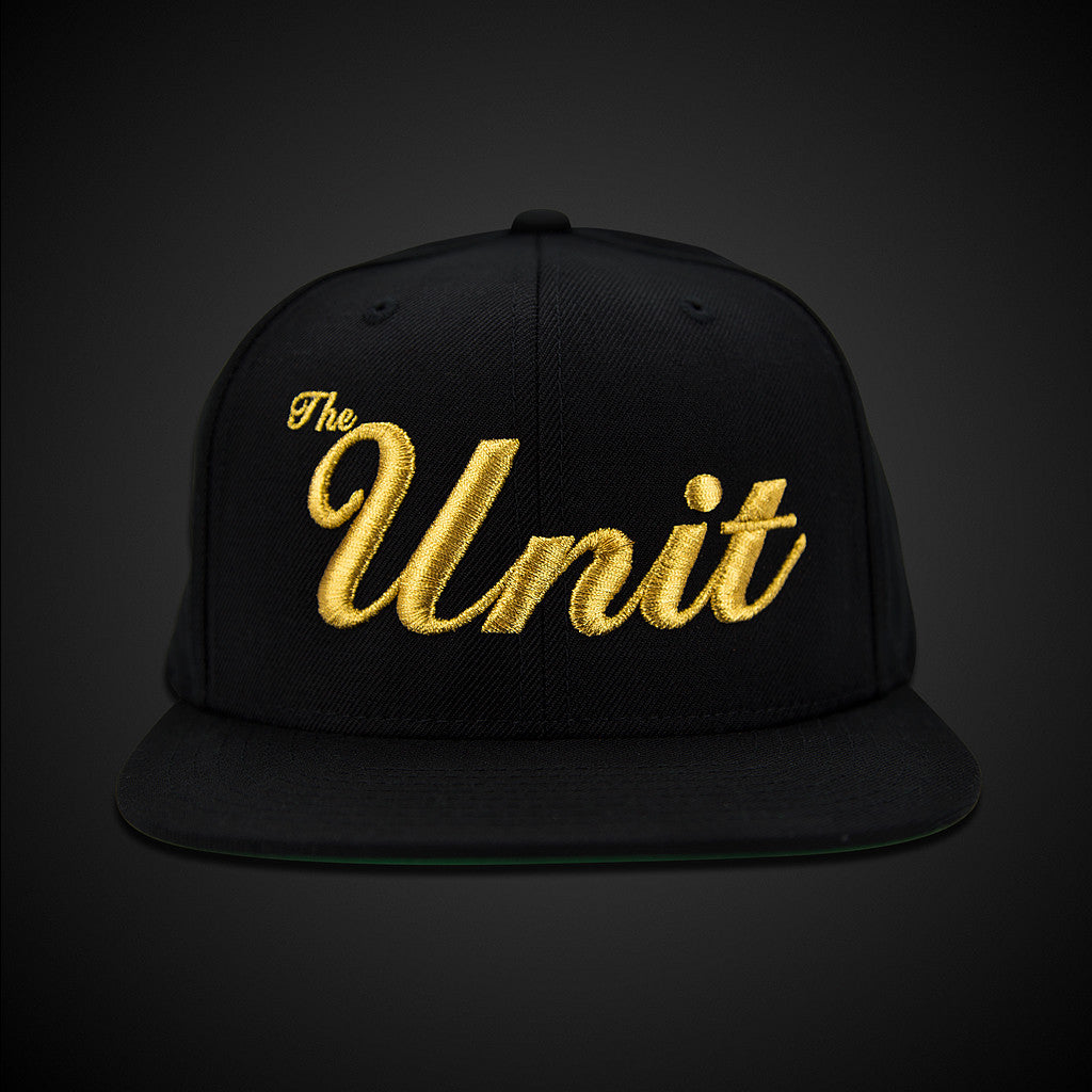 "LIMITED EDITION - ""The Unit"" (snapback) Hat in Black / Metallic Gold"