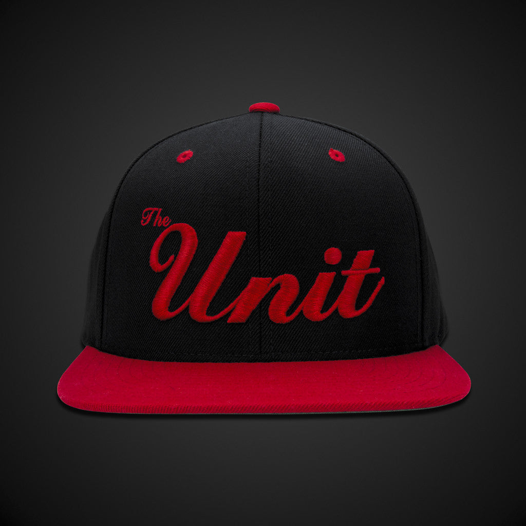 """The Unit"" (snapback) Hat in Black & Red / Red"