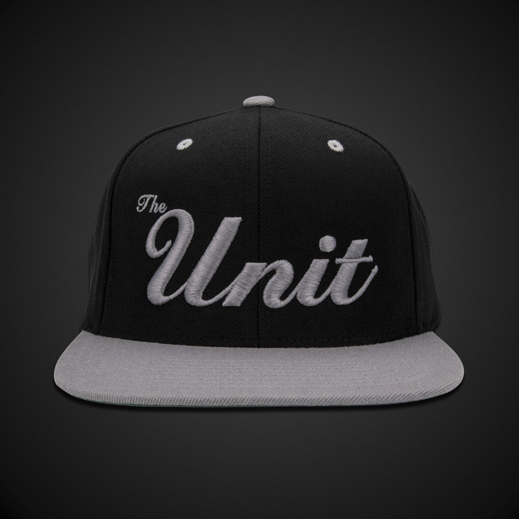 """The Unit"" (snapback) Hat in Black & Silver"