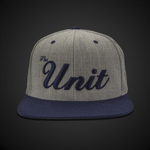 """The Unit"" (snapback) Hat in Heather Grey & Navy / Navy"
