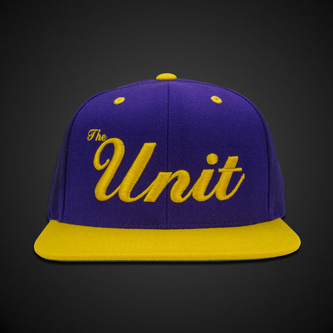 """The Unit"" (snapback) Hat in Purple & Gold"