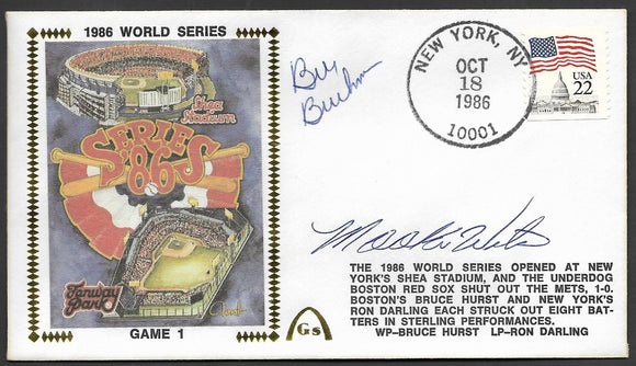 Bill Buckner & Mookie Wilson Autographs on Game 1 of the 1986 World Series