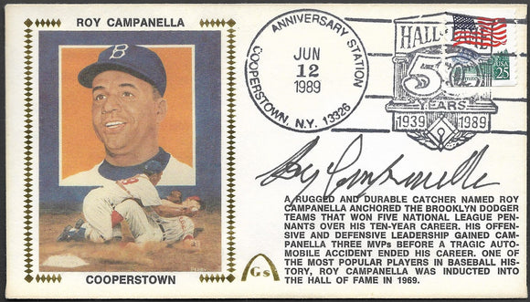 Roy Campanella Autographed Hall Of Fame 50th Anniversary