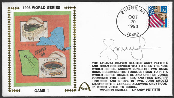 Andruw Jones Game 1 of the 1996 World Series 2-Home Run Game Autographed