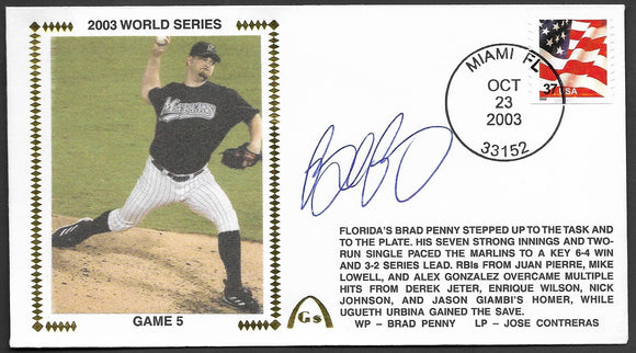 Brad Penny 2003 World Series Game 5 Gateway Stamp Envelope - Autographed