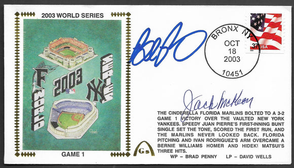 Brad Penny & Jack McKeon 2003 World Series Game 1 Gateway Stamp Envelope - Autographed