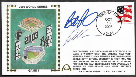 Brad Penny & Dontrelle Willis 2003 World Series Game 1 Gateway Stamp Envelope - Autographed