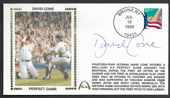 David Cone Autographed Perfect Game Gateway Stamp Envelope