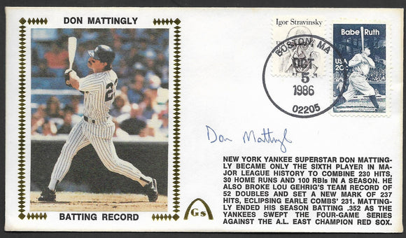Don Mattingly Season Batting Records Gateway Stamp Envelope - Autographed