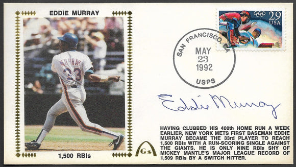 Eddie Murray 1,500 RBI's Gateway Stamp Envelope - Autographed