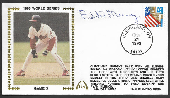 Eddie Murray 1995 World Series Game 3 Gateway Stamp Envelope - Autographed