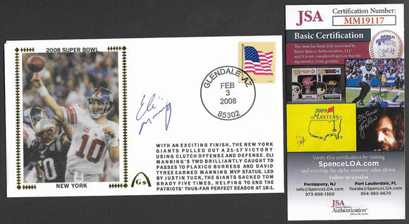 Eli Manning Super Bowl 44 Gateway Stamp Envelope - Autographed & Authenticated by JSA