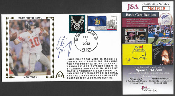 Eli Manning Super Bowl 46 Gateway Stamp Envelope - Autographed & Authenticated by JSA