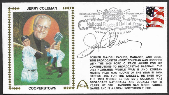 Jerry Coleman Hall Of Fame Gateway Stamp Envelope - Autographed w/ HOF Postmark
