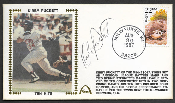 Kirby Puckett 10 Consecutive Hits Autographed Gateway Stamp Envelope