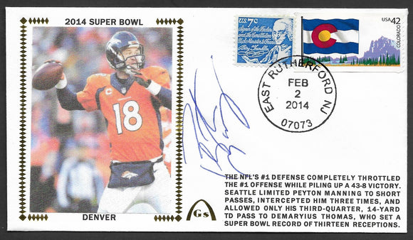 Peyton Manning Super Bowl 48 Gateway Stamp Envelope - Autographed & Authenticated by JSA