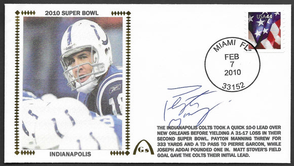 Peyton Manning Super Bowl 44 Gateway Stamp Envelope - Autographed & Authenticated by JSA