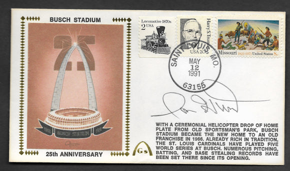 Ron Hunt Busch Stadium 25th Anniversary Autographed Gateway Stamp Envelope