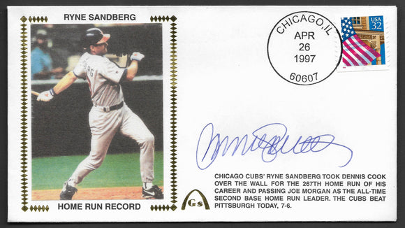 Ryne Sandberg Home Run Record Autographed Gateway Stamp Envelope