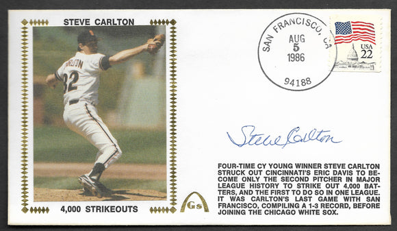 Steve Carlton 4,000 Strikeouts Autographed Gateway Stamp Envelope