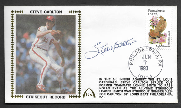 Steve Carlton Career Strikeout Record Autographed Gateway Stamp Envelope