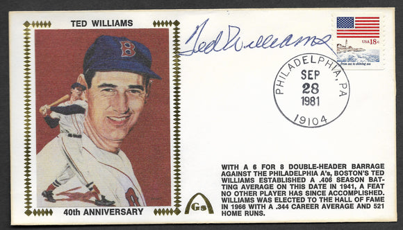 Ted Williams 40th Anniversary of his .406 Season Autographed Gateway Stamp Envelope