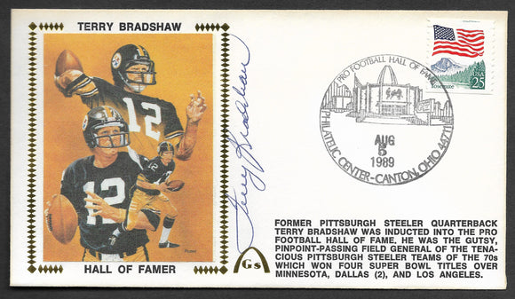 Terry Bradshaw Hall Of Fame Autographed Gateway Stamp Envelope