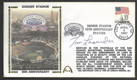 Tom Lasorda Autographed Dodger Stadium 25th Anniversary Gateway Stamp Envelope