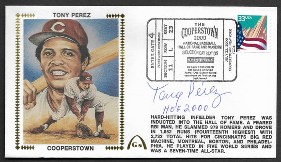 Tony Perez Hall Of Fame Autographed Gateway Stamp Cachet Envelope w/ HOF Postmark
