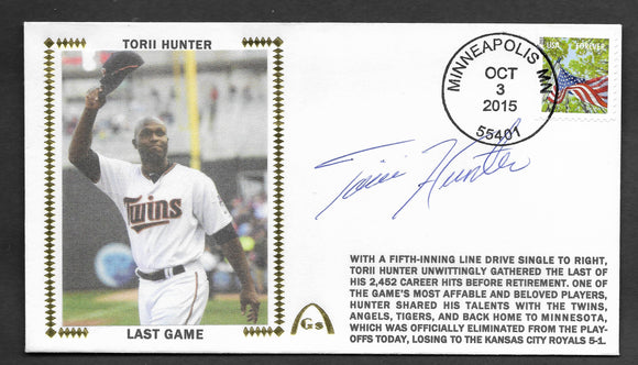 Torii Hunter Last Game Autographed Gateway Stamp Cachet Envelope