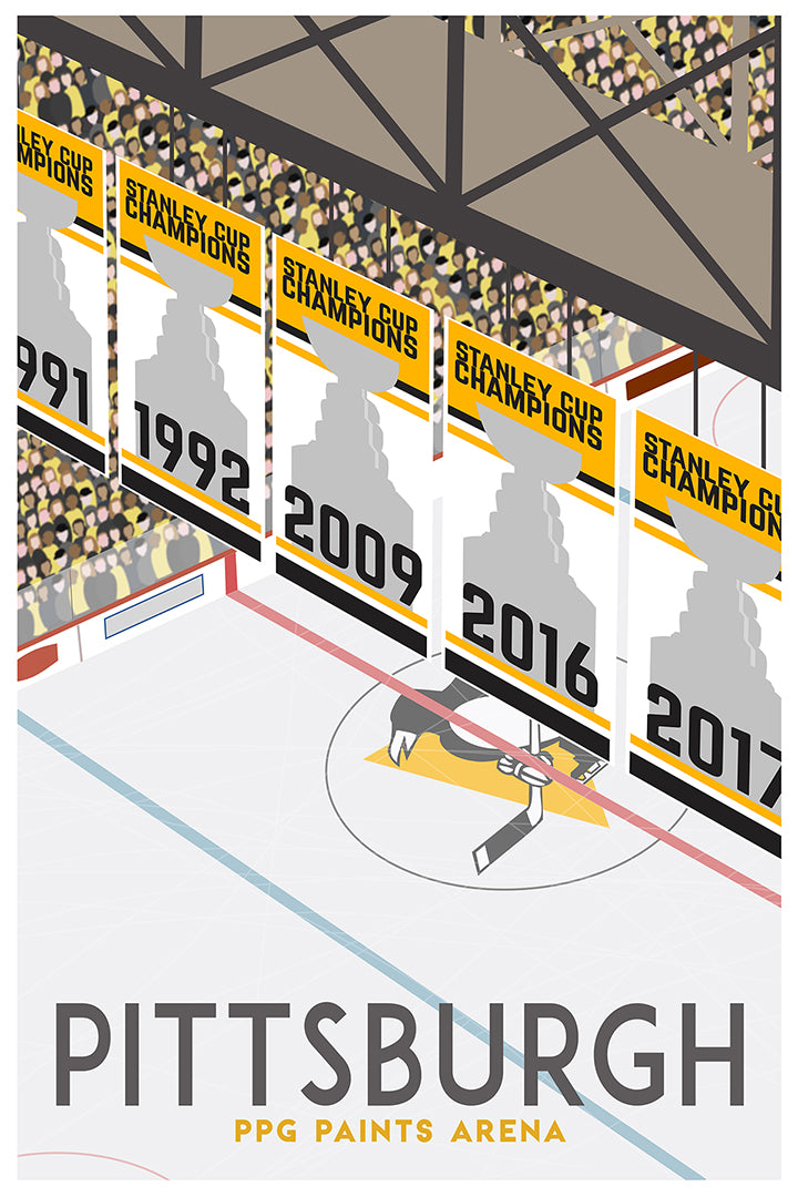 PPG Paints Arena [Vintage Pittsburgh Travel Poster]