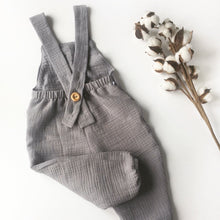 Load image into Gallery viewer, Grey Double Gauze Cotton Romper