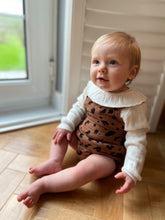 Load image into Gallery viewer, Leopard Print Muslin Gauze Cotton Bubble Romper