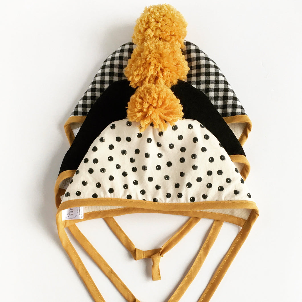 Black Corduroy Winter Bonnet with Mustard Binding & Matching Pom Pom