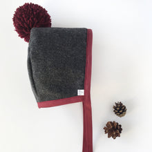 Load image into Gallery viewer, Charcoal Bonnet with Burgundy Binding with matching Pom Pom