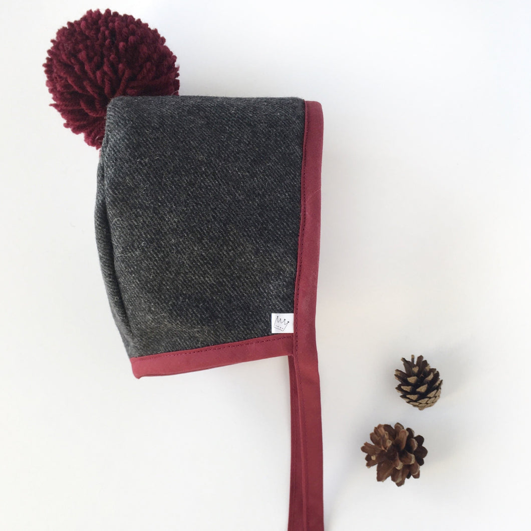 Charcoal Bonnet with Burgundy Binding with matching Pom Pom