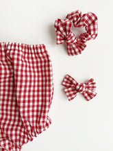 Load image into Gallery viewer, Valentine Gingham Bow Scrunchie