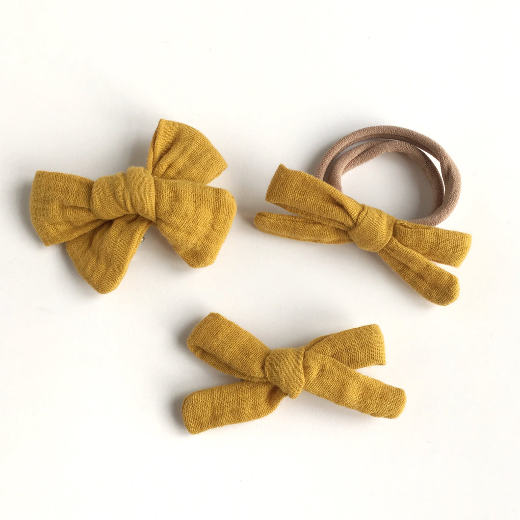 Mustard Double Gauze Hand Tied Cotton Hair Bow