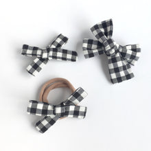 Load image into Gallery viewer, Black and White Gingham Hand Tied Cotton Hair Bow