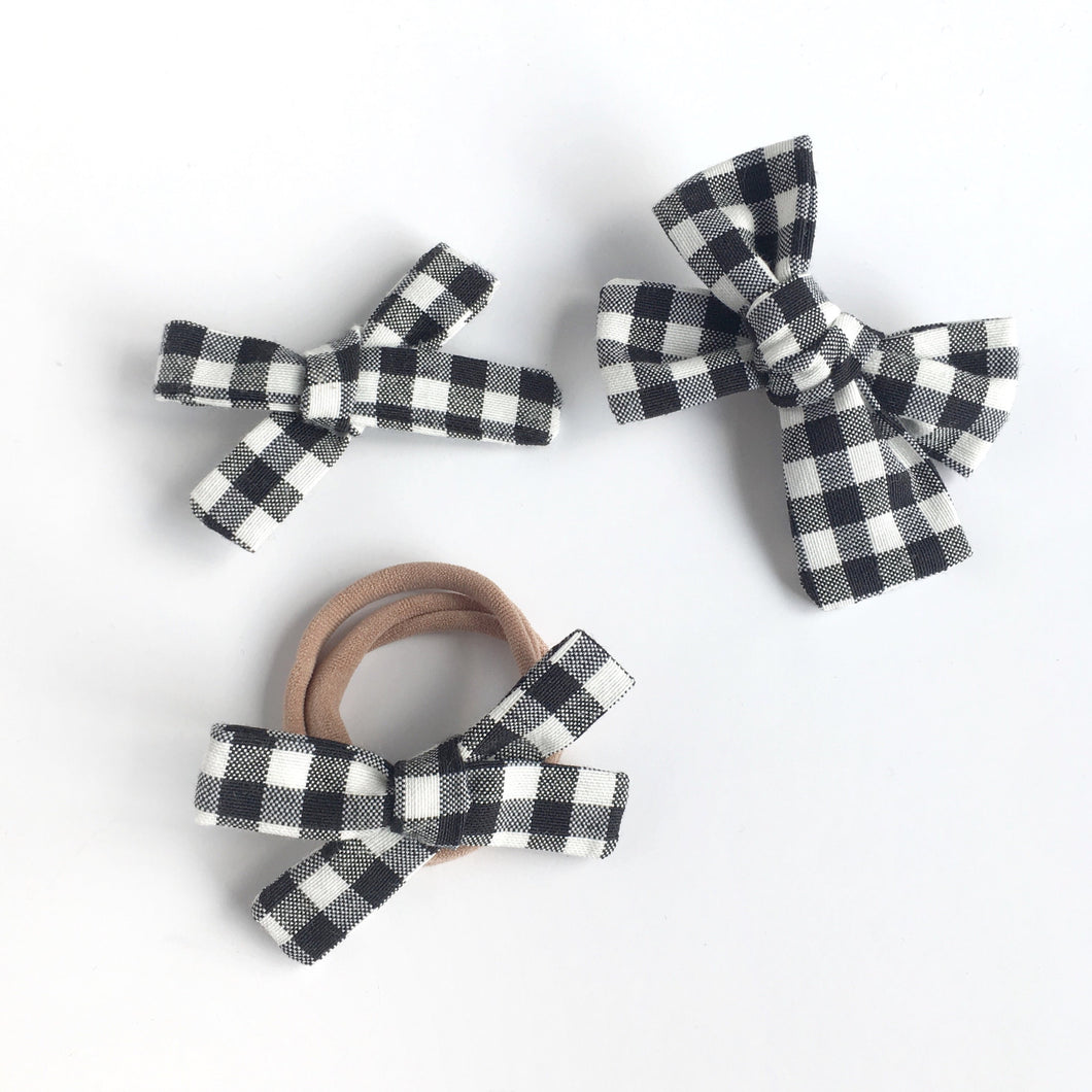 Black and White Gingham Hand Tied Cotton Hair Bow