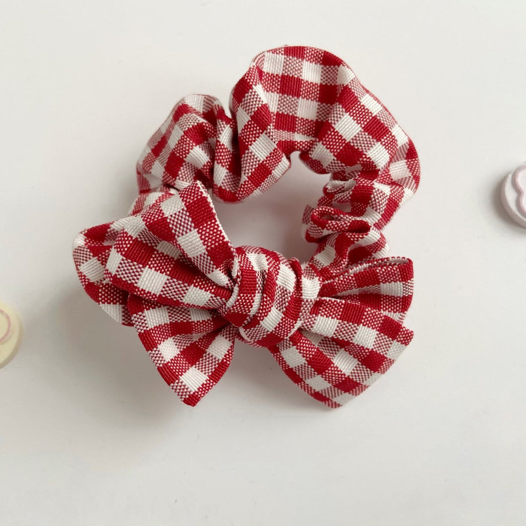 Valentine Gingham Bow Scrunchie