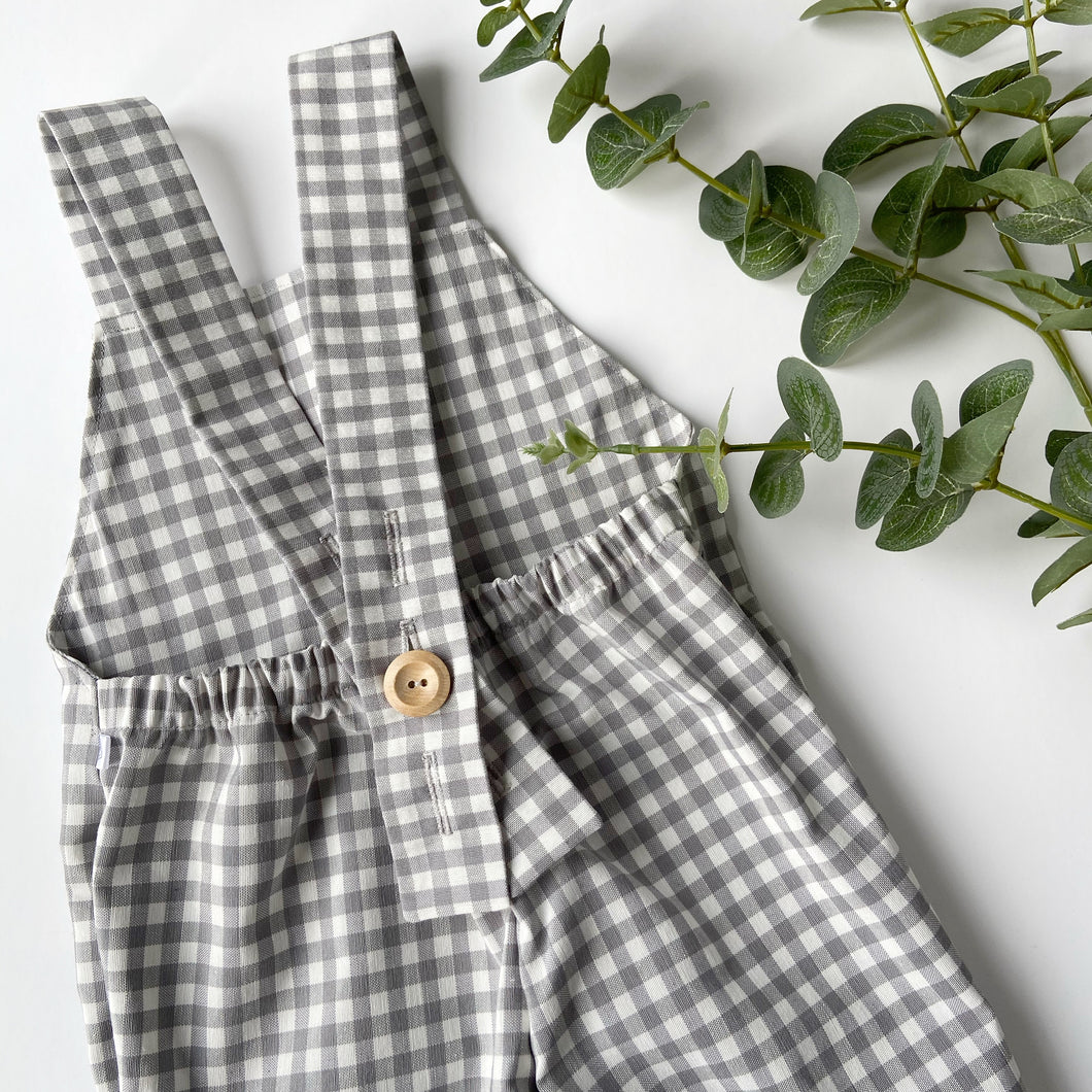 Grey Gingham Unisex Cotton Romper
