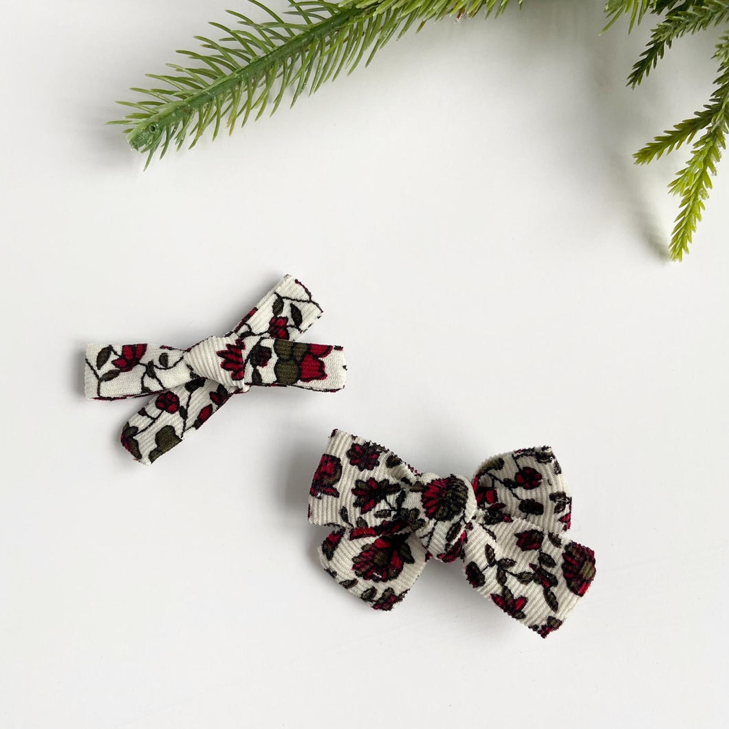 Festive Floral Hand Tied Cotton Hair Bow