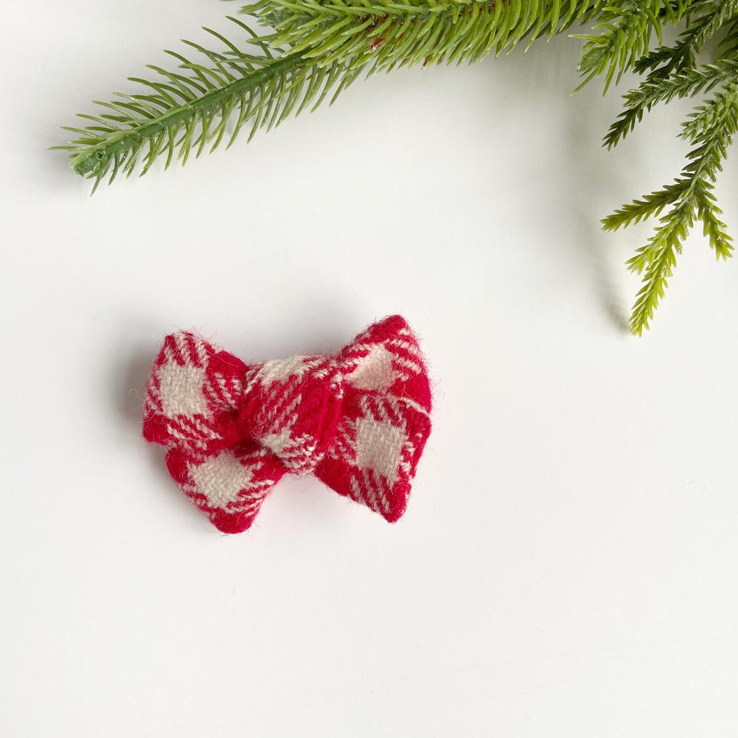 Christmas Gingham Hand Tied Cotton Hair Bow