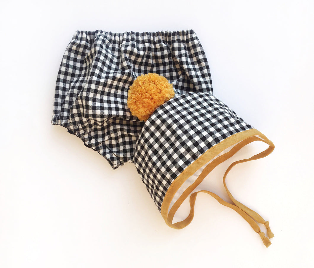 Black and White Gingham Winter Bonnet with Mustard Binding and matching Pom Pom