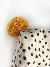 Load image into Gallery viewer, Black and Cream Spotty Winter Bonnet with Mustard Binding and Pom Pom