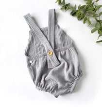 Load image into Gallery viewer, Grey Double Gauze Cotton Unisex Bubble Romper
