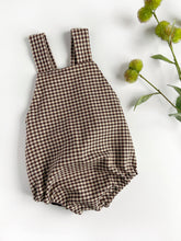 Load image into Gallery viewer, Coffee Gingham Cotton Bubble Romper