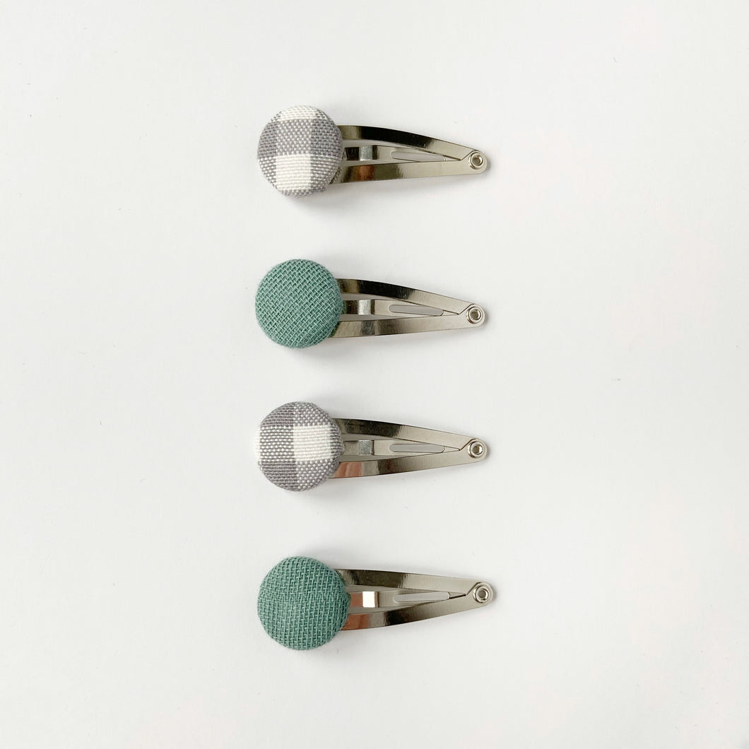 Seafoam and Grey Gingham Fabric Covered Button Clips